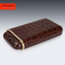 More details for stylish 20thc 9k gold & crocodile leather cigar case, london c.1958