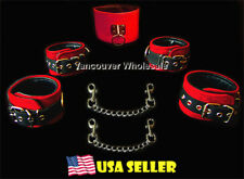 7pc Real Leather Suede Black Red Restraint Wrist Cuffs Ankle Posture Collar Set