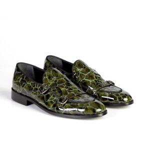 Men's green luxury patent double monk dress shoe.