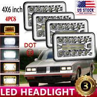 "DOT Approved 4pcs 4x6"" LED Headlight Hi/Lo Halo DRL for Chevy C10 C20 C30 Camaro"