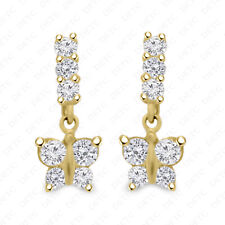 Real 10K Solid Yellow Gold Journey Diamond Butterfly Push Back Stud Earrings