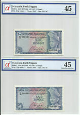 MALAYSIA  RM1 x 2pcs R/N 1st Series  RARE LOW NUMBER #309 ~ 310 GRADED 45
