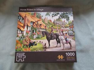 1000 Piece Jigsaw Corner Piece Puzzle  Horse Riders In Village