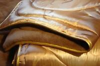PREMIUM GOLD BEDDING MERINO WOOL CAMEL & SATIN  DUVET OVER BLANKET Bedspread