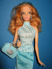 B201- ROTBLONDE TOP MODEL RESORT BARBIE MATTEL 2003 TÜRKISE NYLON-KLEIDUNG LABEL