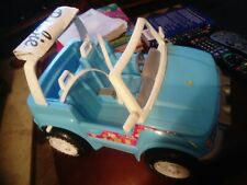 1999 Barbie Blue Jeep Wrangler Convertible Goodyear Tires + elc jeep with sounds
