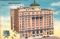 Los Angeles, California Postcard HOTEL EMBASSY Grand Avenue at Ninth Linen