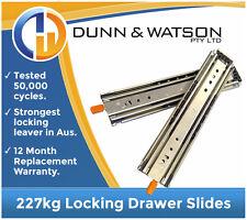 "508mm 227kg Locking Heavy Duty Drawer Slides / Fridge Runners - 500lb, 20"", Draw"