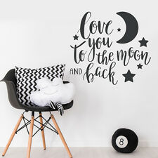Love You To The Moon & Back Quote Wall Sticker Baby Nursery Decal Decor