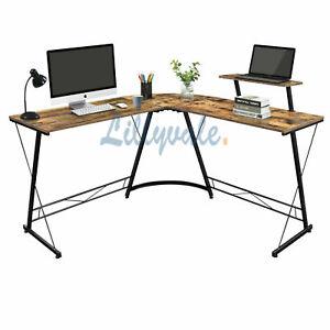 Rustic L Shape Computer Desk Workstation Home Office
