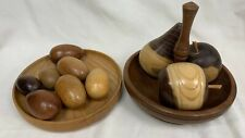 Set of 2 Quirky Beautiful Wooden Ornaments 2 Bowls Pears Apples and Eggs #444