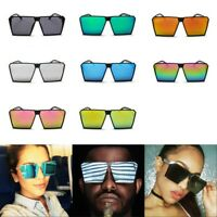 Fashion Oversize Square Women Men Retro Sunglasses Frame Flat Top Metal Glasses