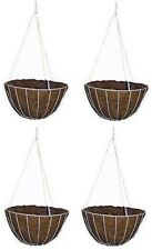 """4 Panacea 88501 12"""" Round White Wire Growers Hanging Baskets with Chain & Liner"""