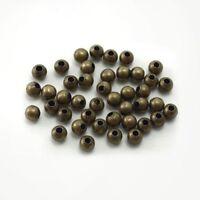 LOT de 400 PERLES RONDES 4mm METAL couleur BRONZE SANS NICKEL création bijoux