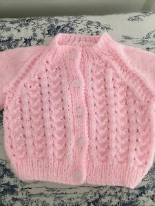NEW Hand Knitted Pink Baby Cardigan 3 - 6 Months