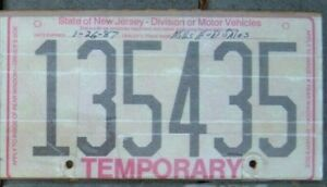 NEW JERSEY 1980s Vintage TEMPORARY Motorcycle Cycle License plate 135435  ^