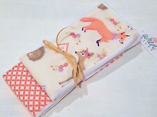 NWT Forest Infant Baby Girl Burp Cloth Set Coral Pink Deer Fox Owl Bird Chipmunk