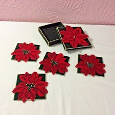 Plastic Canvas Christmas Poinsettia Coaster Set With Holder Handmade New Crafts