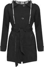 Cotton Blend Hood Patternless Coats & Jackets for Women