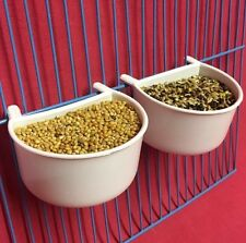 2 X Bird Dog Cat Rabbit Cage Clip On Water Food Bowl Countainer 2 Hook Cup 7 cm