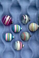 7 Vintage Striped Glass Christmas Ornaments Clear Unsilvered Shiny Brite Lot USA
