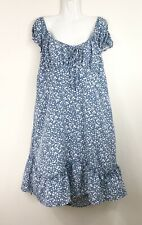 You + All Floral Dress 22 Plus Size Blue White Boho Casual Off The Shoulder