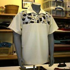 MENS SMALL Cream Rockabilly Vintage 1950's Retro Bowling Shirt  rock n roll