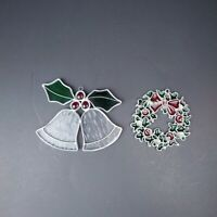 Set of 2 Stained Glass Christmas Ornaments Jingle Bells Wreath