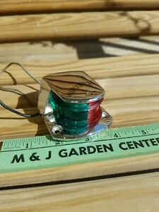 Vintage A-16-81 Red Green Boat Marker Light Chrome Deck Mount 6375-202