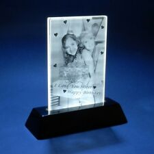 3D Laser Crystal Glass Personalized Custom Etched Engrave Stand Birthday Flat M