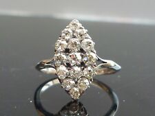 Stunning 14ct white gold 1.9ct Old Cut diamond marquise cluster ring INVESTMENT!