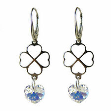 FASHIONS FOREVER® 925 Sterling Silver Heart-Crystal Clover Leverback Earrings
