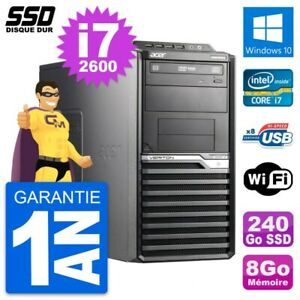 PC Tour Acer Veriton M2610G Intel Core i7-2600 RAM 8Go SSD 240Go Windows 10 Wifi