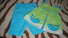 RARE EDITIONS 2T POLKA DOT WHALE CAPRIS TOP SET