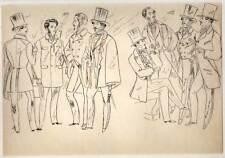 Fashion Antique Feminine & Masculine Bad Set of ' Etude de Mode on paper Tracing