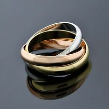 Cartier 18K Tri Gold White Rose Yellow Wide Trinity Band Ring Size 10.5