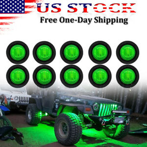 10 Pcs Green LED Rock Light Under Body Lights For JEEP Offroad Truck UTV ATV