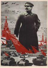 "Russian Propaganda Poster "" STALIN INSPIRES & DEFENDS MOTHERLAND"" Constructivism"