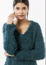 Kimchi Blue Sweater Pullover V-Neck Teddy Small NWT Green Cozy Chic Shag Fuzzy