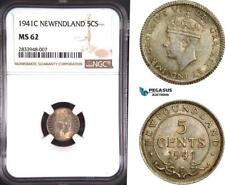 AD799, Canada, Newfoundland, George VI, 5 Cents 1941-C, Silver, NGC MS62