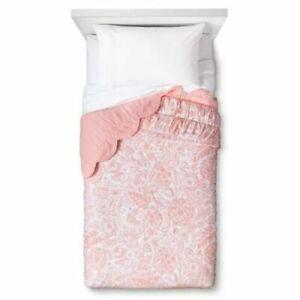 """NEW Pillowfort Birds Scalloped Edge 100% Cotton Quilt ~ Pink ~ Twin 66"""" x 88"""""""
