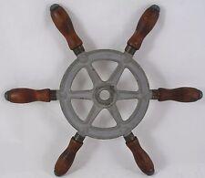"Antique Steel 12.5"" Ship wheel mahogany handles Wilcox Crittenden nautical decor"