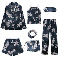 7Pcs Womens Silky Satin Pajama Set Floral Sleepwear Nightwear Pyjamas Loungewear