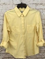 Chicos button up shirt blouse womens 2 yellow large roll tab long sleeve top  G6