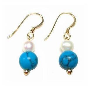 Genuine White Pearl & Turquoise Bead Dangle Hook Earrings 14K Gold Filled