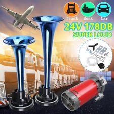 24V Nebelhorn Hupe Dual Tube Laut Druckluft Fanfare Trompete Kompressor Auto LKW