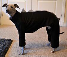"""dog pyjamas jumper greyhound  lurcher dinosaur all in one fleece size 28-30"""" blk"""