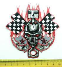 Aufnäher Aufbügler Patch Harley Hotrod Racing Skull Zielfahne Kolben