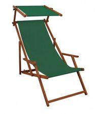 Chaise Longue Vert Bois Transat pour Jardin Hêtre Relaxliege Toit Ouvrant 10-304