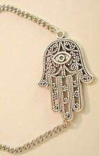 BRACELET SILVER FILIGREE HAMSA HAND OF FATIMA CHARM ON CHAIN EVIL EYE AMULET